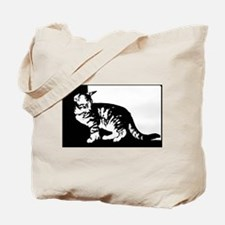 Black and White Tabby Cat Tote Bag