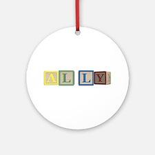 Ally Alphabet Block Ornament (Round)