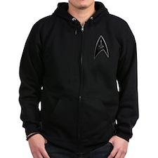 Star Trek Logo black silver Zipped Hoodie