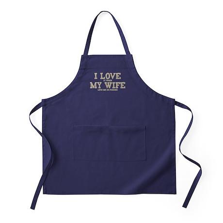 WIFE LETS ME GO FISHING Apron (dark)