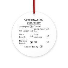 Veterinarian Checklist Ornament (Round)