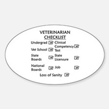 Veterinarian Checklist Sticker (Oval)