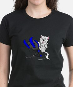 Snowmobile Cat in Color Blue Tee