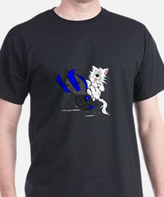 Snowmobile Cat in Color Blue T-Shirt