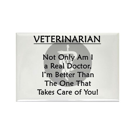 Veterinarian A Real Doctor Rectangle Magnet