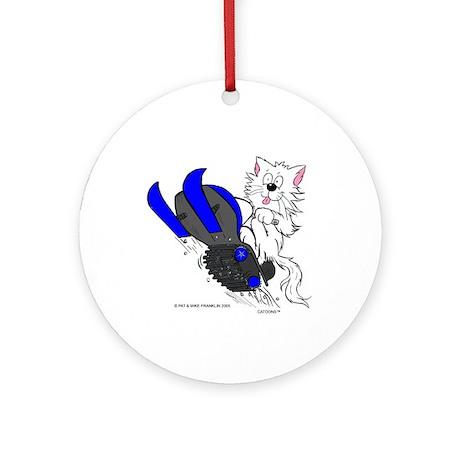 Snowmobile Cat in Color Blue Ornament (Round)