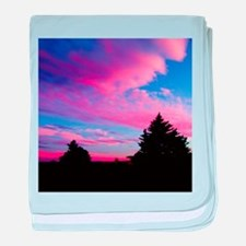 Pink Clouds And Trees Sunset baby blanket