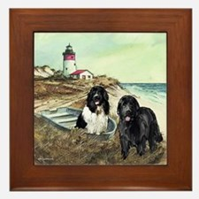 two newfs and a boat Framed Tile