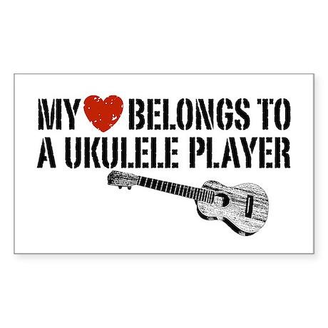 My Heart Ukulele Player Sticker (Rectangle)