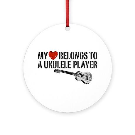 My Heart Ukulele Player Ornament (Round)