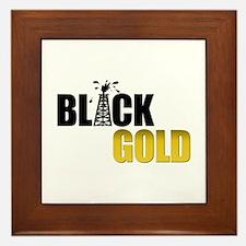 Black Gold Oil Framed Tile