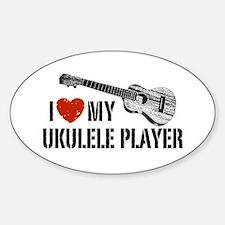 I Love My Ukulele Player Sticker (Oval)
