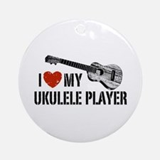 I Love My Ukulele Player Ornament (Round)
