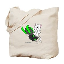 Snowmobile Cat in Color Green Tote Bag