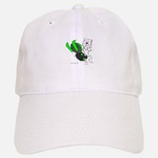 Snowmobile Cat in Color Green Baseball Baseball Cap
