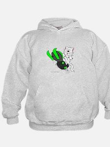Snowmobile Cat in Color Green Hoodie