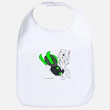 Snowmobile Cat in Color Green Bib