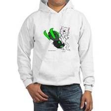 Snowmobile Cat in Color Green Hoodie