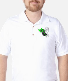 Snowmobile Cat in Color Green T-Shirt
