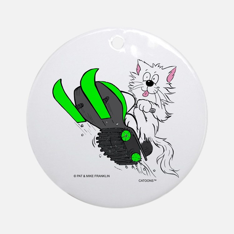 Snowmobile Cat in Color Green Ornament (Round)