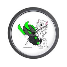 Snowmobile Cat in Color Green Wall Clock