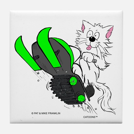 Snowmobile Cat in Color Green Tile Coaster