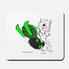 Snowmobile Cat in Color Green Mousepad