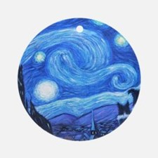Starry Night Border Collies Ornament (Round)