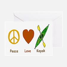 Peace,Luv,Kayak Greeting Card