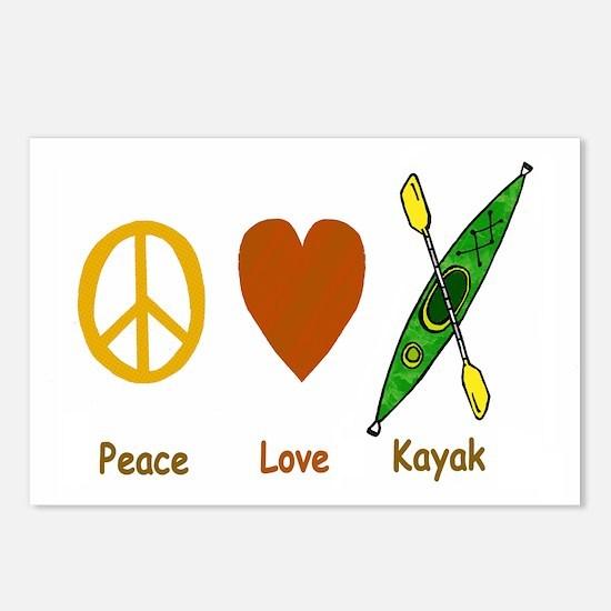Peace,Luv,Kayak Postcards (Package of 8)