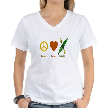 Peace,Luv,Kayak Women's V-Neck T-Shirt
