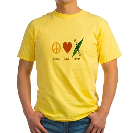 Peace,Luv,Kayak Yellow T-Shirt