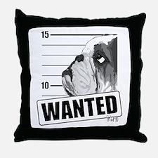 Black Bulldog Wanted Throw Pillow