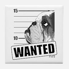Black Bulldog Wanted Tile Coaster