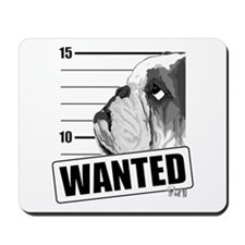 Black Bulldog Wanted Mousepad