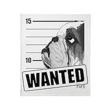 Black Bulldog Wanted Throw Blanket