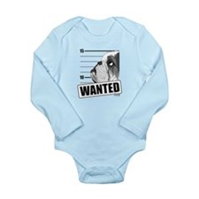 Black Bulldog Wanted Long Sleeve Infant Bodysuit
