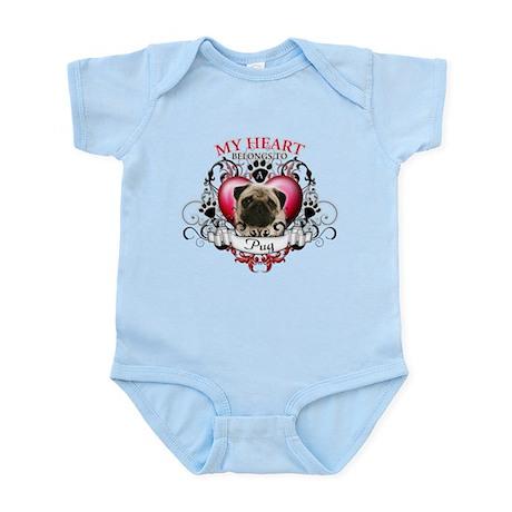 My Heart Belongs to a Pug Infant Bodysuit