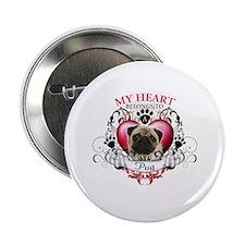 """My Heart Belongs to a Pug 2.25"""" Button (100 pack)"""