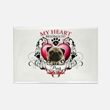 My Heart Belongs to a Pug Rectangle Magnet