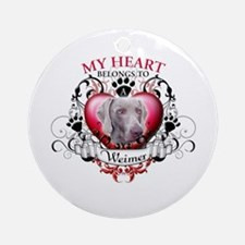 My Heart Belongs to a Weimer Ornament (Round)