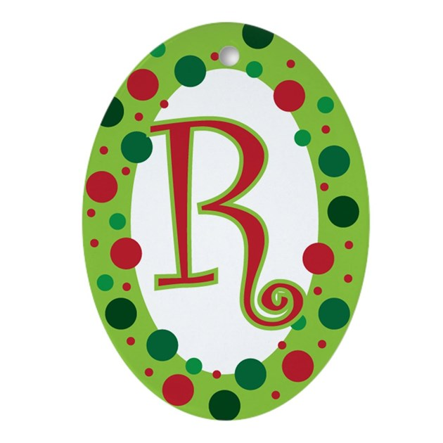 Monogram initial polka dot ornament oval by