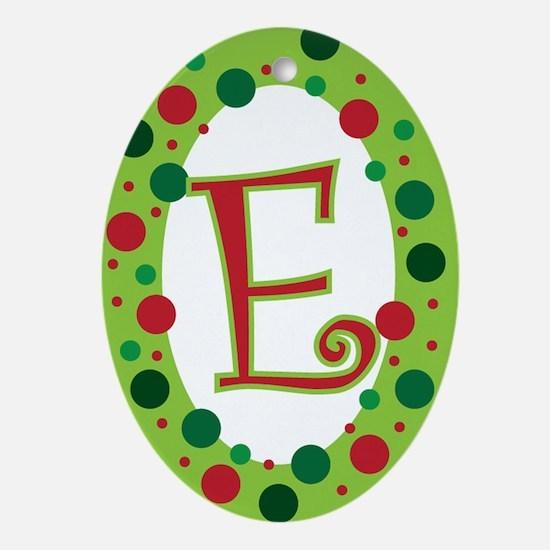 MONOGRAM / INITIAL POLKA DOT Ornament (Oval)
