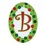 Polka dot initial Oval Ornaments