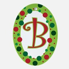 MONOGRAM / INITIAL POLKA DOT Ornament (Oval)
