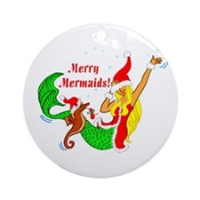 Merry Mermaid Ornament (Round)