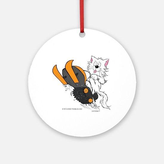 Snowmobile Cat Orange Ornament (Round)