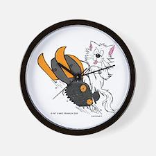 Snowmobile Cat Orange Wall Clock