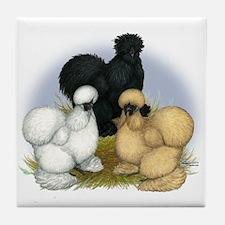 Silkie Chicken Trio Tile Coaster