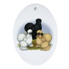 Silkie Chicken Trio Ornament (Oval)
